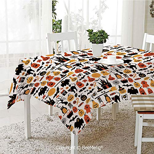 BeeMeng Dining Kitchen Polyester dust-Proof Table Cover,Halloween,Halloween Icons Collection Candies Owls Castles Ghosts October 31 Theme Decorative,Orange Yellow Black,Rectangular,59 x 59 -