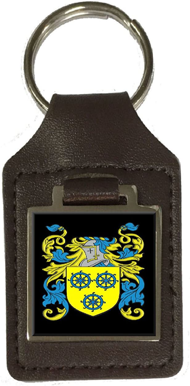 Nutt Family Crest Surname Coat Of Arms Brown Leather Keyring Engraved