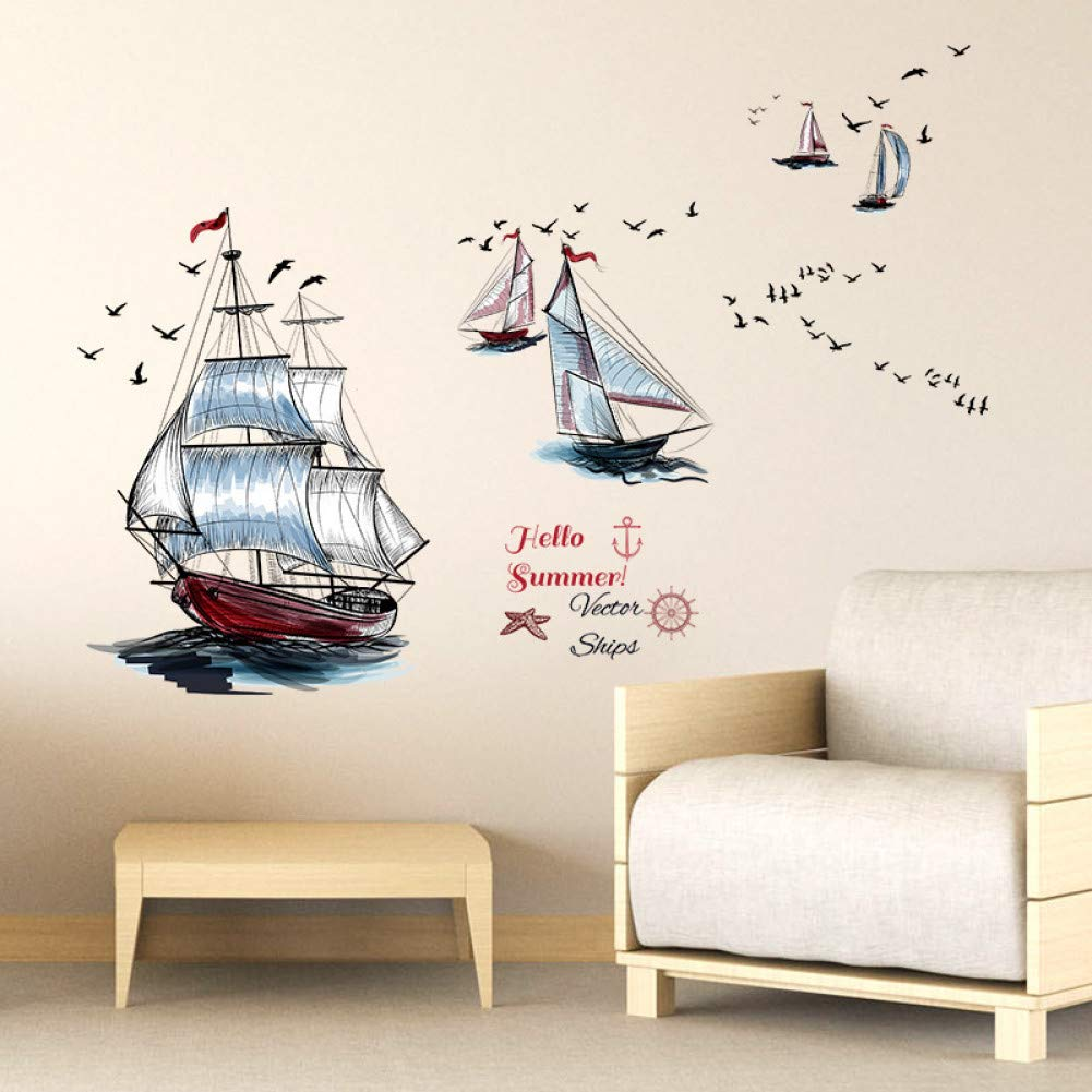 GZZQTT Velero Moderno Barco Seagull Summer Landscape View Tatuajes ...