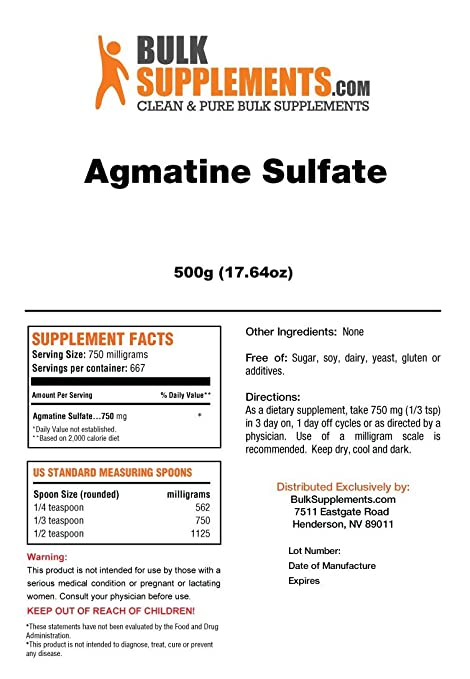 BulkSupplements Agmatine Sulfate Powder (100 Grams)