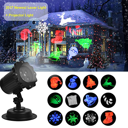 UNIFUN Christmas Laser Projector Light Bright Led Landscape Spotlight Indoor and Outdoor Waterproof Projection Led Lights for Christmas Decorations