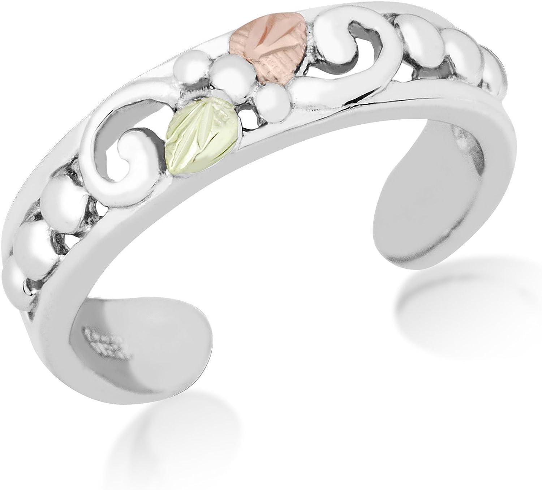 12k Green Gold and 12k Rose Gold Sterling Silver Black Hills Gold Toe Ring