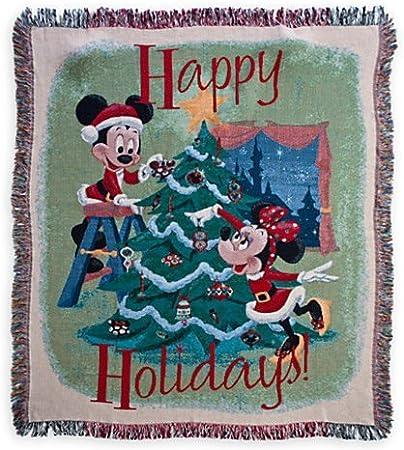 Disney Parks Santa Mickey /& Minnie Mouse  Reversible Christmas Throw Blanket New