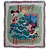 Disney Park Mickey Minnie Mouse Tapestry Happy Holidays Christmas Throw Blanket NEW