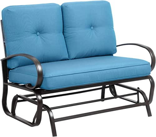 Walsunny Loveseat Outdoor Patio Glider Rocking Bench,Porch Furniture Glider,Wrought Iron Chair Set