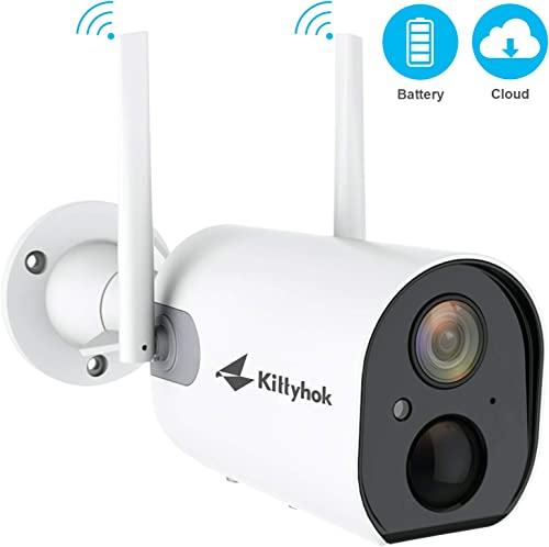 Kittyhok Wire-Free Outdoor Battery Powered Security Cameras Wireless, 1080P WiFi IP Security Home Camera with PIR Detection, 2-Way Audio, FHD Night Vision, IP66 Weatherproof, Micro SD Cloud Storage