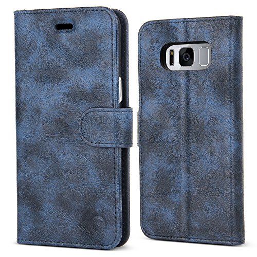 Access Italian Shade - Galaxy S8 Case,B BELK Samsung Galaxy S8 Luxury Premium Leather Flip Wallet, Slim PC Back Cover Protective Card Case with Classic Strong Magnetic Closure for Samsung Galaxy S8, Blue