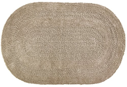 Moda at Home 454545 Serene Oval Bath Rug, Reversible, 100% Cotton, 18-Inch X 28-Inch, - Bath Oval Rugs