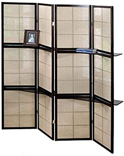 Monarch Specialties 4-Panel Folding Screen with 2 Display Shelves, Cappuccino