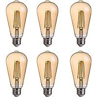 FLSNT ST58/ST19 LED Edison Bulb 40W Equivalent,E27 Base,2700K Soft White Lighting,330LM,Non-dimmable,4W,Amber Glass,6…