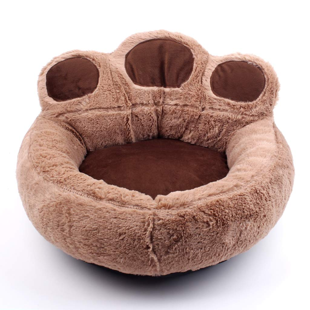 Brown Medium Brown Medium Warm Pet Sofa Bed Cat Nest Kennel, Soft Short Plush Covered Dog Bed Thicken Cat Cuddle Bed Fully Removable and Washable Pet Nest for Dogs and Cats,Brown,M