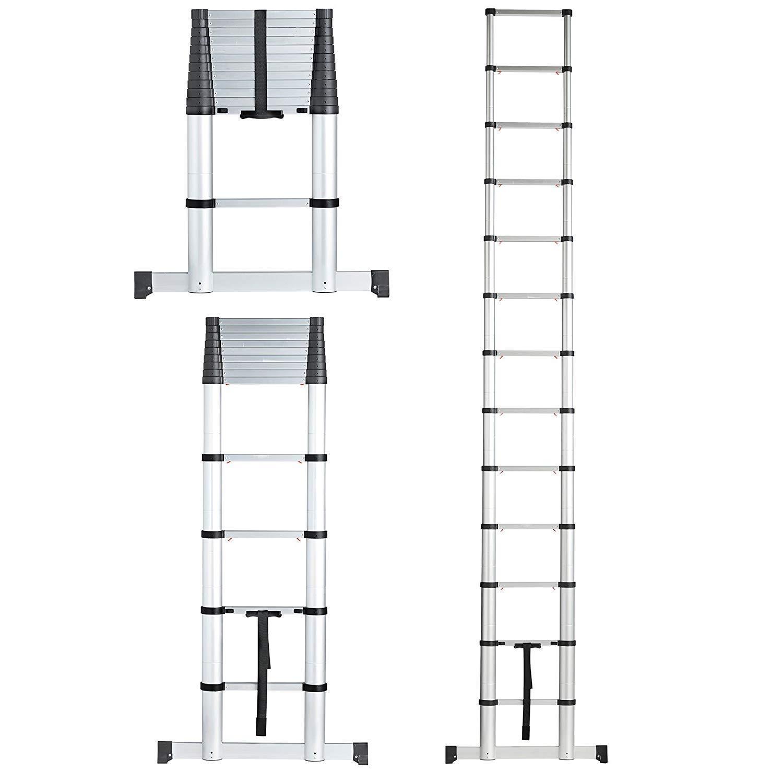 SHOPPERS STOP New 4.4M Telescopic Aluminium DIY EXTENDABLE Portable Foldable Builders Multi-Purpose I Shape Ladder EN131 Approved { 4.4M I Shape }