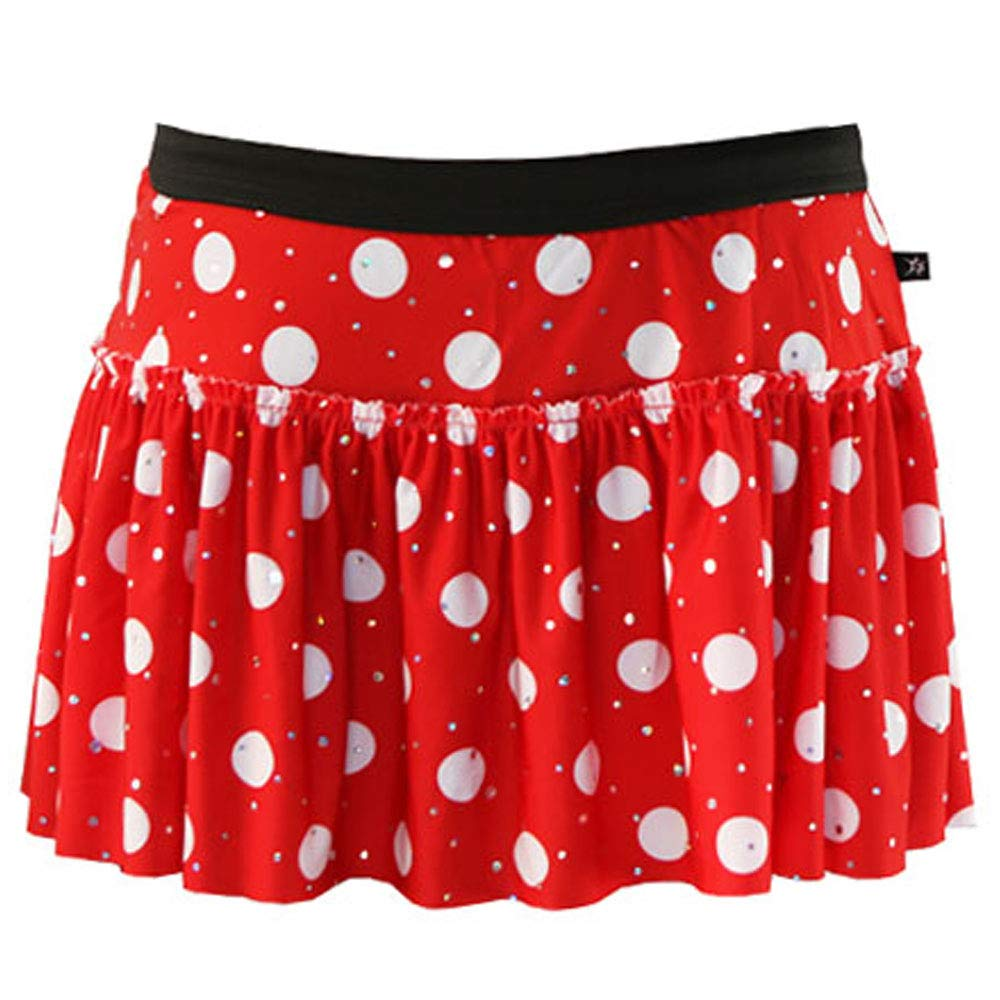 Red with White Polka Dots Sparkle Running Skirt L by Sparkle Athletic