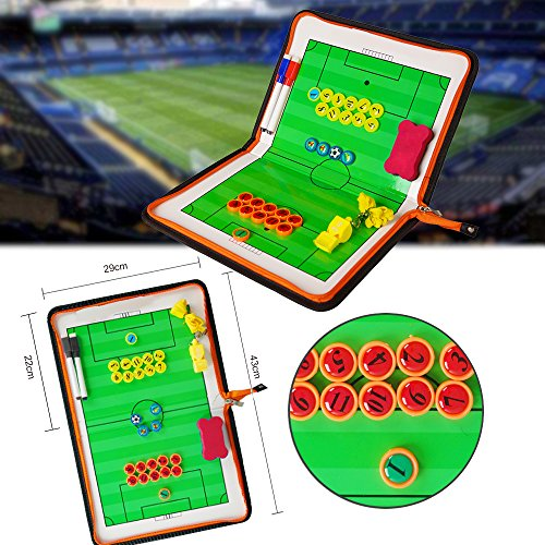 (AiLe Football Soccer Magnetic Tactic Coach ClipBoard with Dry Erase Zipper and Marker Pen - Coaching Strategy Board Kit Equipment Foldable and Portable Coach Tool)