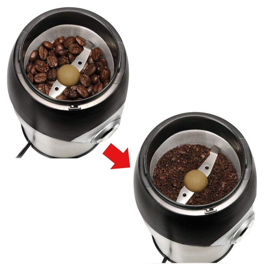 Electric Coffee Grinder Herb Grinder Spice Grinder Mini Grinder All-In-One, includes 1 oz Scoop and Cleaning Brush - 200 Watt by GoldTone (Image #4)
