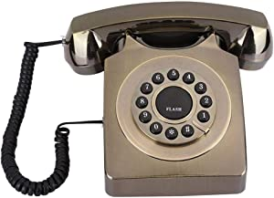 Retro Landline Telephone, Bronze-Plated Old-Fashioned Desktop Corded Phone for Home/Office/Hotel, Vintage Telephone((Bronze-Plated))