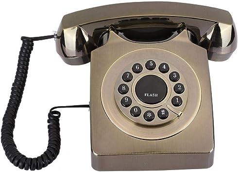 Teléfono Fijo Vintage, teléfono de Escritorio Multifuncional Chapado en Bronce con Tono de Llamada, Aspecto Retro Exquisito, teléfono clásico Vintage para Oficina en casa(Bronce): Amazon.es: Electrónica