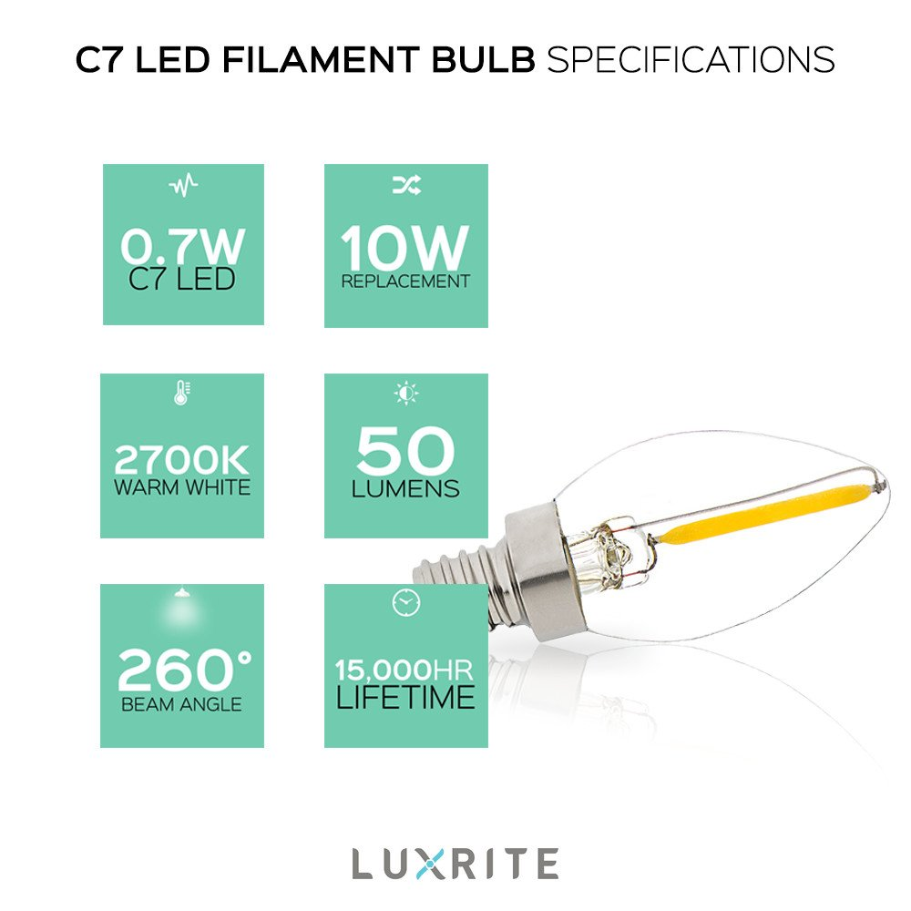 10W Equivalent LED Night light bulb 50 Lumens E12 Base Luxrite C7 LED Bulb 0.7W UL Listed 3 Pack Warm White 2700K