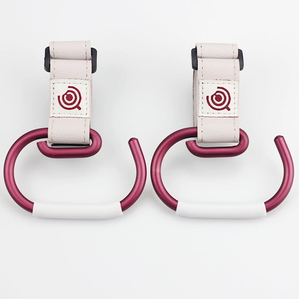 Chubbypapa Stroller Hooks(2 Pack) Aluminium Alloy with Silicone Anti-slip Tube Baby Stroller Hooks for Diaper Bag Stroller Hanger Clip Universal Baby Stroller Hooks - Red Ltd