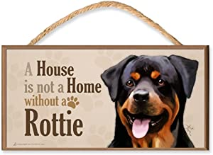 DGS Originals Rottweiler v3 A House is Not a Home without a Rottie Dog Sign/Plaque featuring the art of Scott Rogers