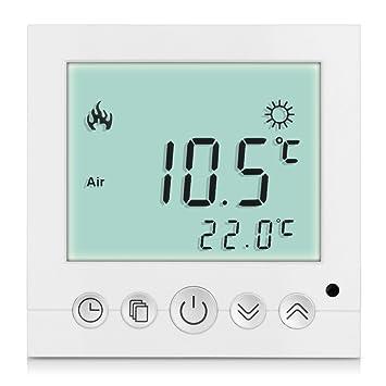 H3 - 2 termostatos digitales con pantalla LCD azul para salas y suelos, 16 A: Amazon.es: Bricolaje y herramientas