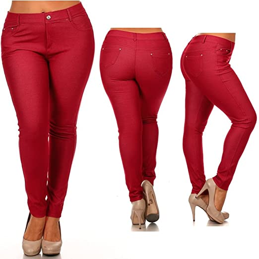 46faaebbffb Women s Plus Size Cotton Jeans Look Skinny Jeggings Stretch Red Pants Size  2XL
