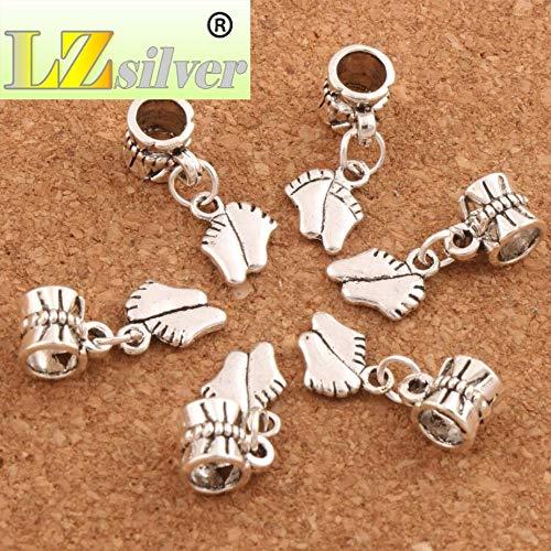 Calvas Baby Feet Big Hole Beads Dangle Fit European Charm Bracelets 21.9x8.4mm B451 21pcs Antique Silver