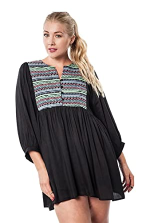 Umgee Womens Tribal Baby Doll Tunic Dress Plus Size Xl Black At