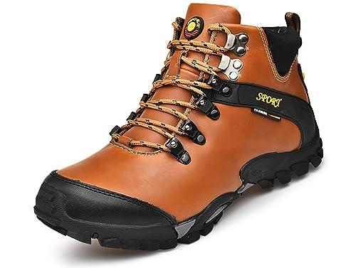 GJRRX Hombre Botas de Senderismo Impermeables de Ocio al Aire Libre Zapatos de Deporte Zapatillas de Senderismo Cordones Trainer Botas Negro Marrón 38-46: ...