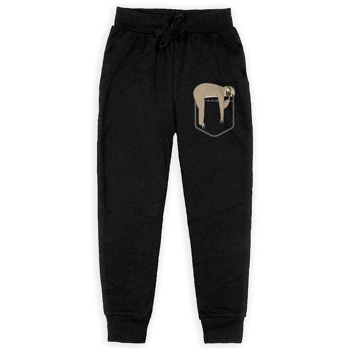 Roli-Land Unisex Teens Pocket Sloth Elastic Gym Sweatpants for Boys Gift with Pockets Pajamas