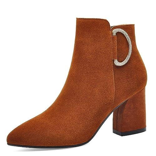 Bloque De Gamuza Tacón Tobillo Botas para Mujer De Invierno Comfy Vestido De Fiesta De Boda Zapatos De Cremallera Botines Negro Marrón,Brown-EU:40/UK:7: ...