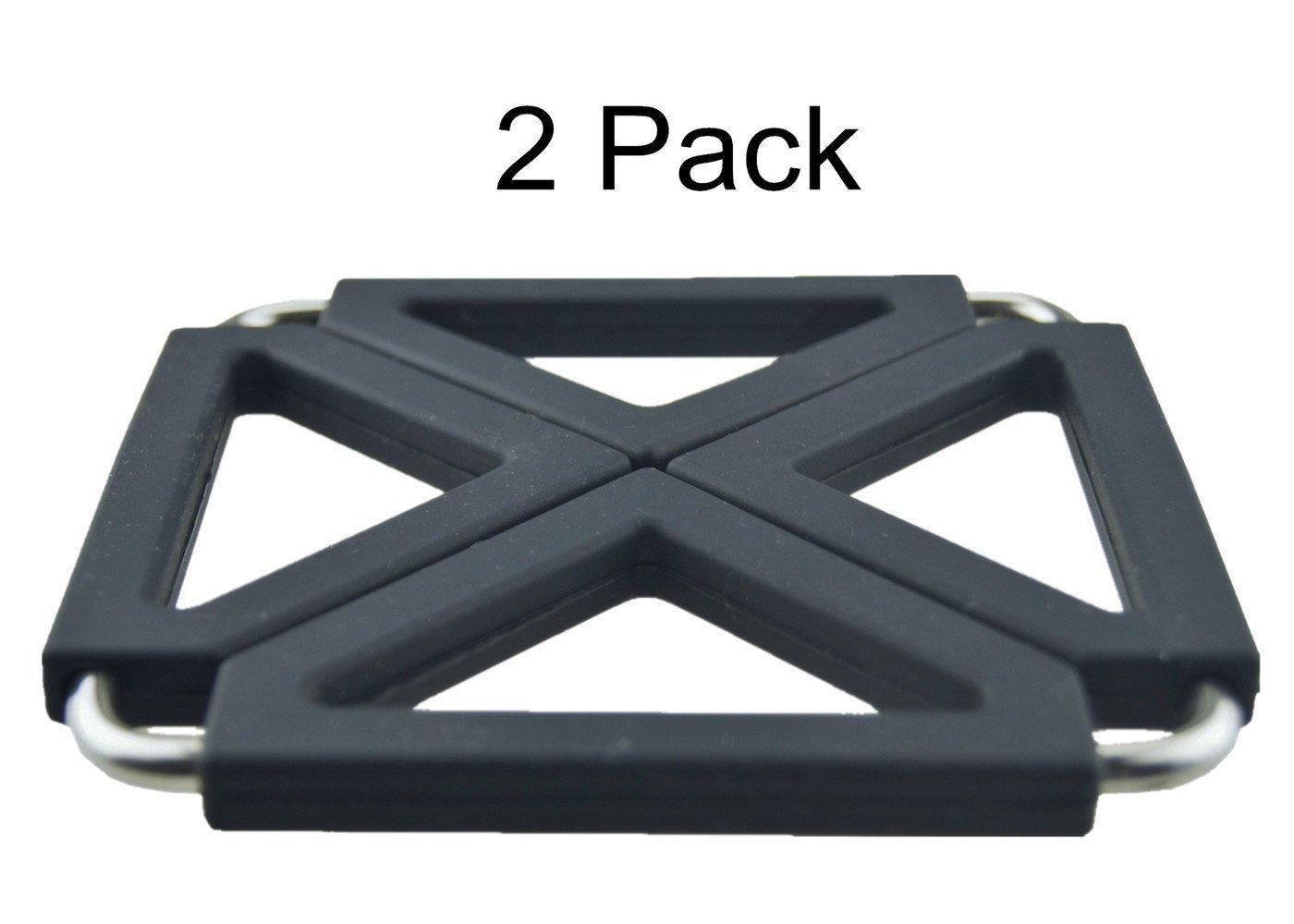 COJOY Expandable Silicone & Metal Trivet Mat, Hot Pot Holder Pads, 6.3'' Square Black, Set of 2