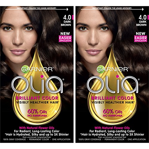 Garnier Olia Ammonia-Free Brilliant Color Oil-Rich Permanent Hair Color, 4.0 Dark Brown (2 Count) Brown Hair Dye