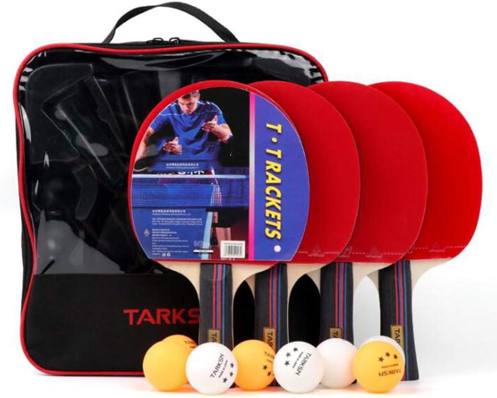 CHUANGXIE Juego de Tenis de Mesa/Juego de Ping Pong portátil, (Incluyendo 8pelotas de Tenis de Mesa | 1 Red retráctil | 4 paletas de Ping Pong | 1 Bolsa de Almacenamiento)