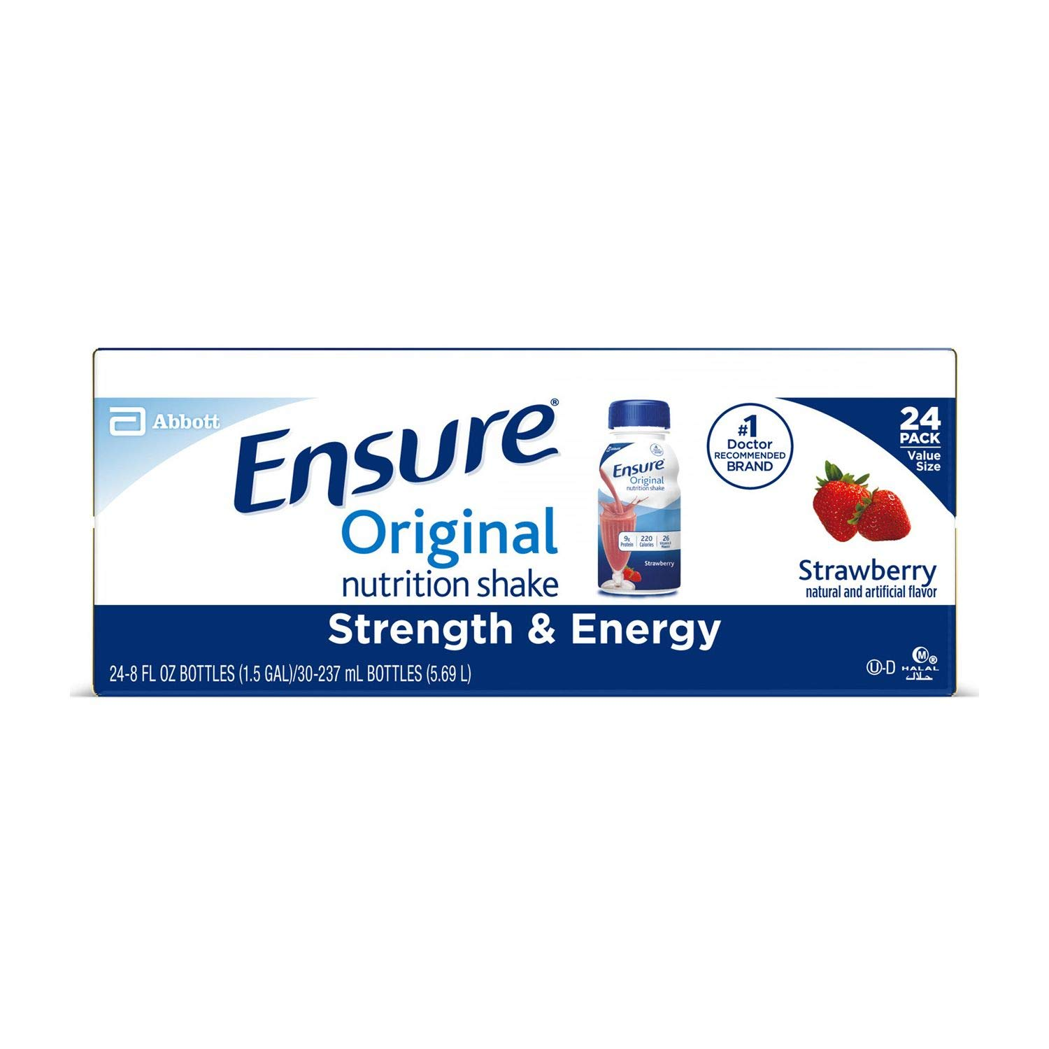 Ensure Original Nutrition Strawberry Meal Replacement Shakes with 9g of Protein 8 fl. oz, 24 ct. (pack of 3) A1