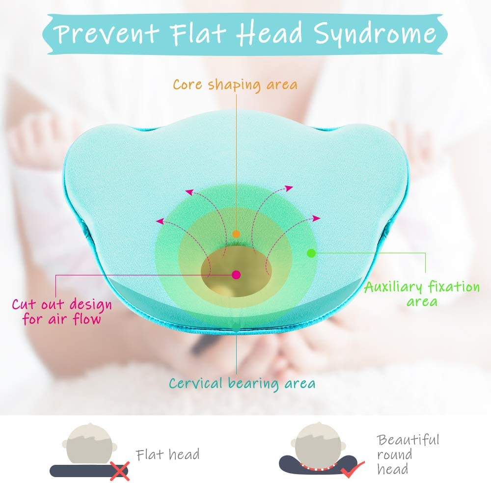 Elegear Baby Pillows Ergonomic Design Infants Pillow Anti-flat Head Syndrome Baby Head Shaping Pillow with a Washable Pillowcase 0-12 Months