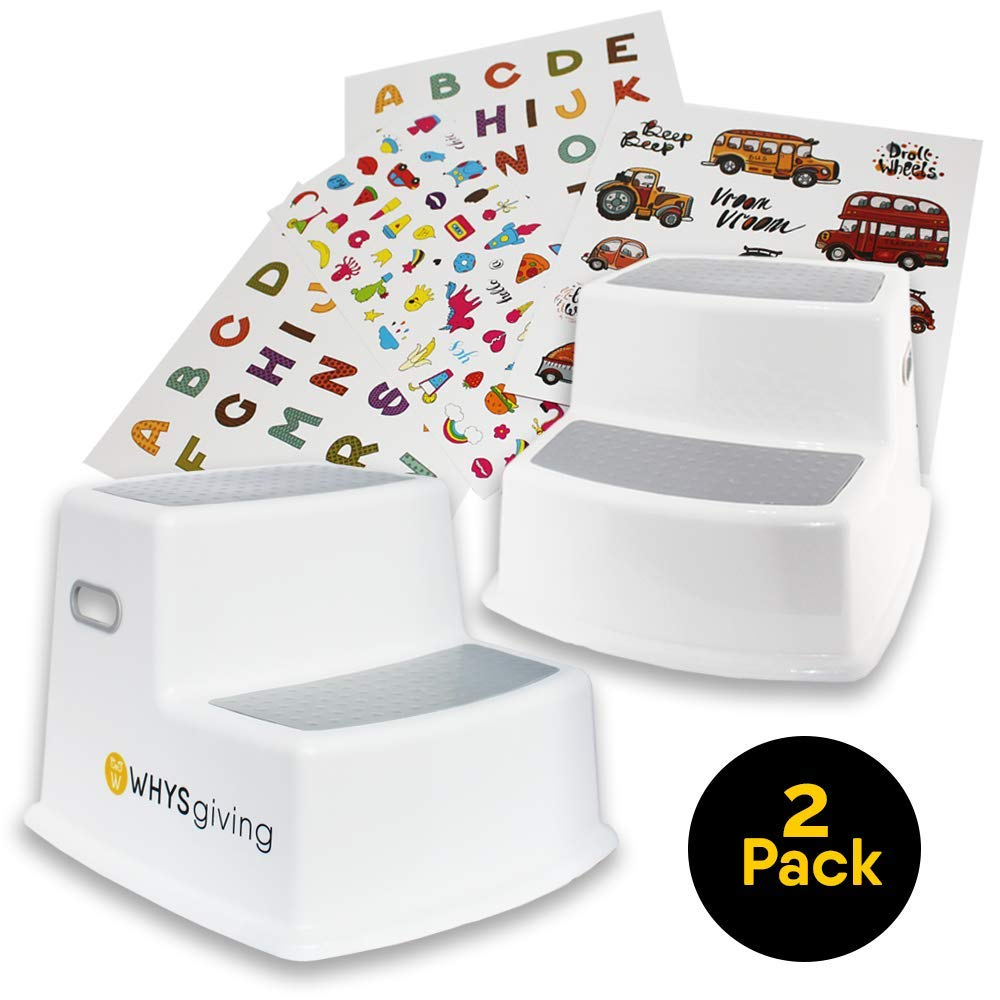 TWO Kids Step Stools with Stickers to Decorate | Wide Step, Dual Height, Slip Resistant, and a Soft Grip | Ideal Toddler Stool for Toilet and Potty Training | Use in Bathroom, Kitchen, Bedside Areas by W WHYSGIVING