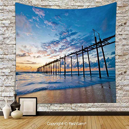 (FashSam Tapestry Wall Blanket Wall Decor Sunset and Old Wood Bridge Phang NGA Thailand Beach Tourism Attractions Romantic Home Decorations for)