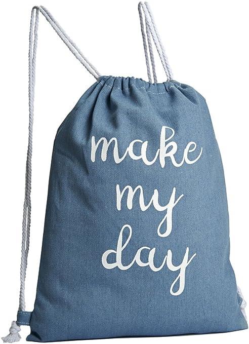 3 bolsas que pueden ser utilizadas como mochilas, de tela vaquera con frases impresas, tamaño 44 x 34 cm, 100% algodón, mochila de algodón: Amazon.es: Juguetes y juegos