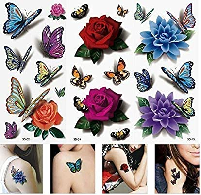 e253464d52 3 sheets Flower petals red rose buds purple tulips orchids butterflies  TEMPORARY TATTOOS scar cover up 3D flowers blooming four leaf clover FAKE  TATTOO ...