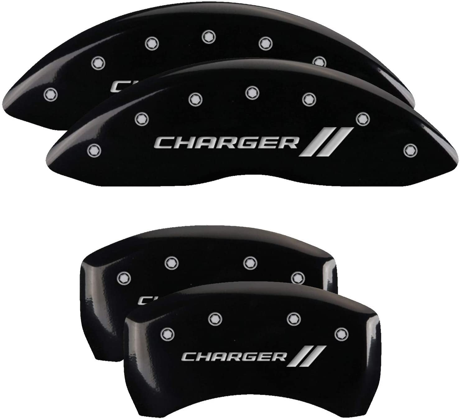 MGP Caliper Covers 12162SCH1BK Charger ll Engraved Caliper Cover with Black Powder Coat Finish and Silver Characters, Set of 4