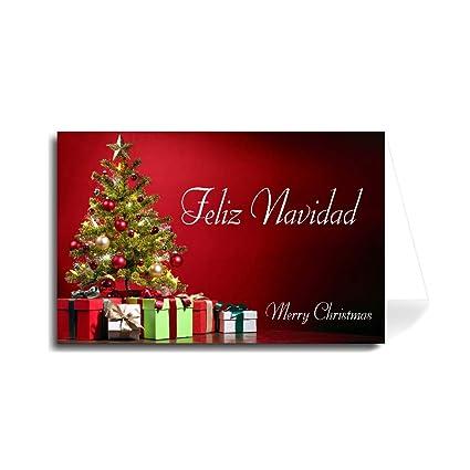 Christmas Wishes In Spanish.Amazon Com Spanish Merry Christmas Greeting Card Tree