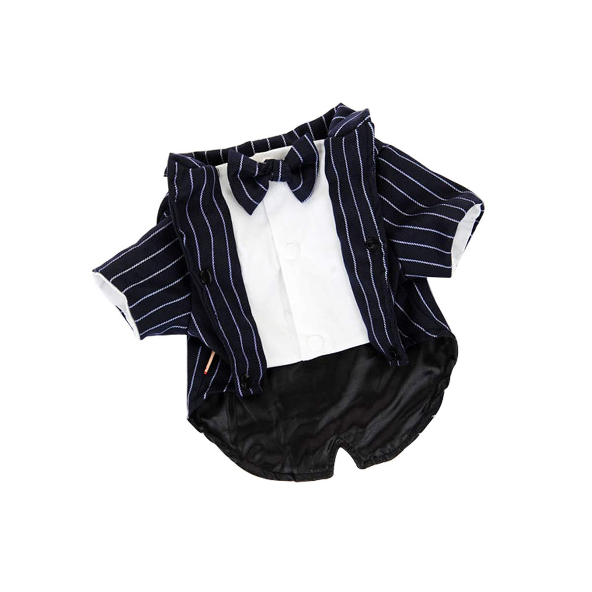 L bouti1583 Formal Navy Striped Tuxedo with Bow Tie for Dogs Cats Puppy Suit Wedding Party Photo