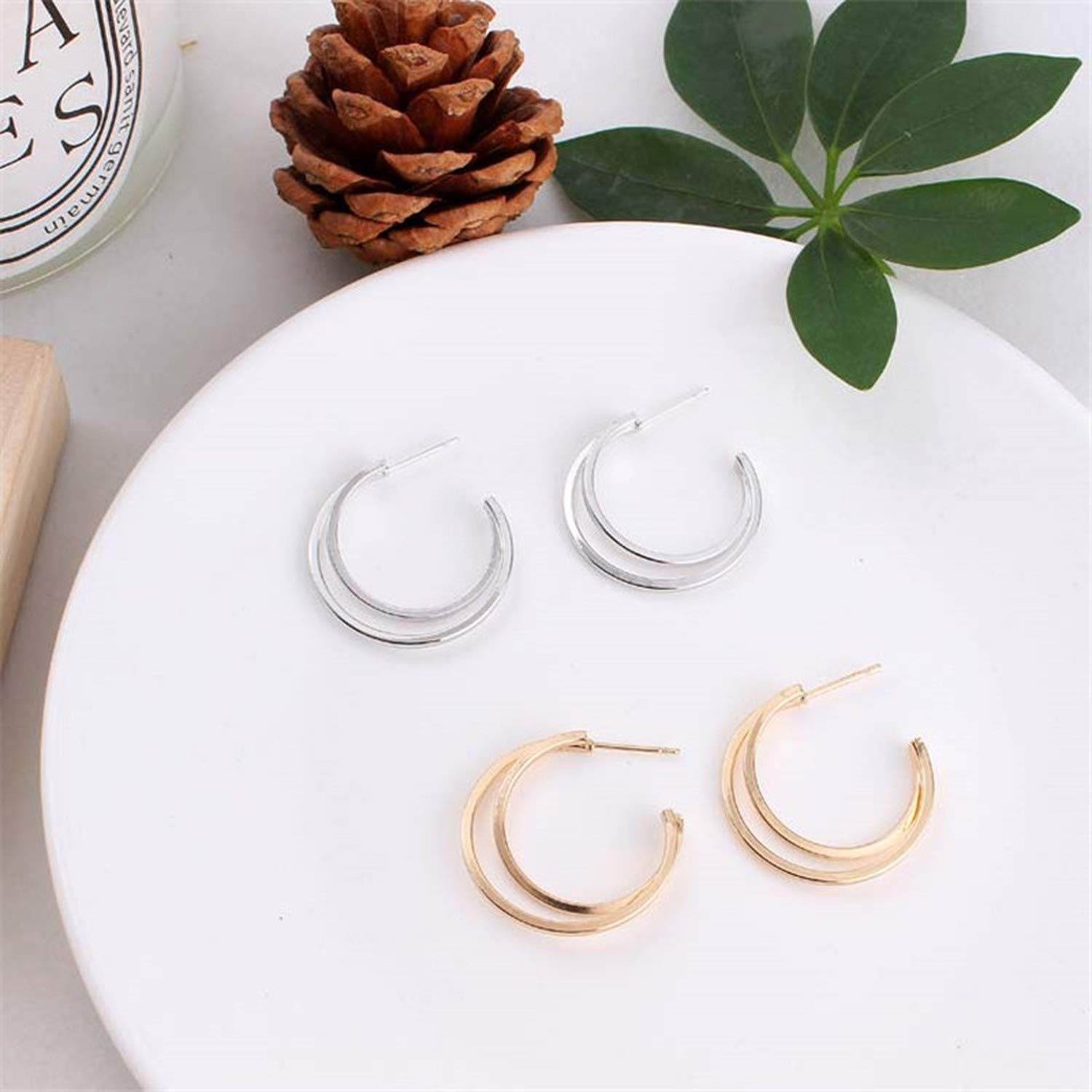 fashion Jewelry round stud earrings gold silver color Zircon earring brincos jewelry e0439