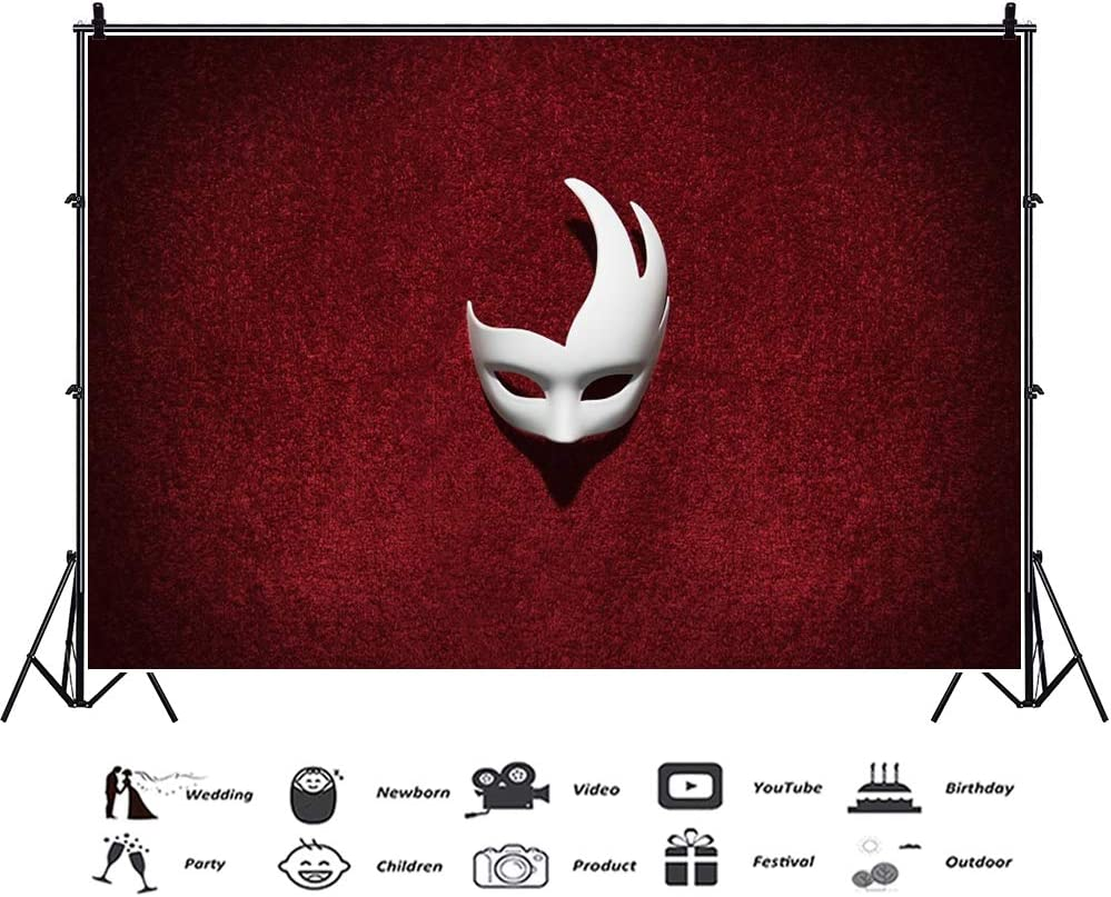 YEELE White Mask Photography Backdrop for Masquerade Theme Party Photo Background Lady Girls Makeup Carnival Party Artistic Portrait Photo Booth Photoshoot Props Wallpaper 6x4ft