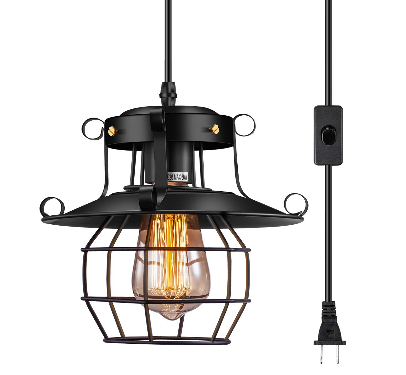 Industrial Plug in Hanging Light, Elibbren E26 E27 Base Vintage Rustic Caged Style Pendant Light Plug in Light Fixture with 14.87 Plug in Cord for Kitchen Farmhouse Dining Room 1 Pack