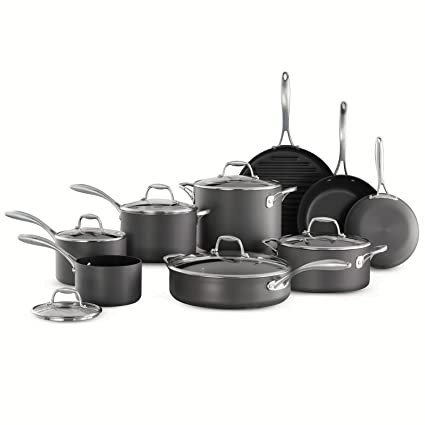 Cookware Set 15 Piece Memberu0027s Mark Features Hard Anodized Aluminum Vessels  And Comfortable Grip