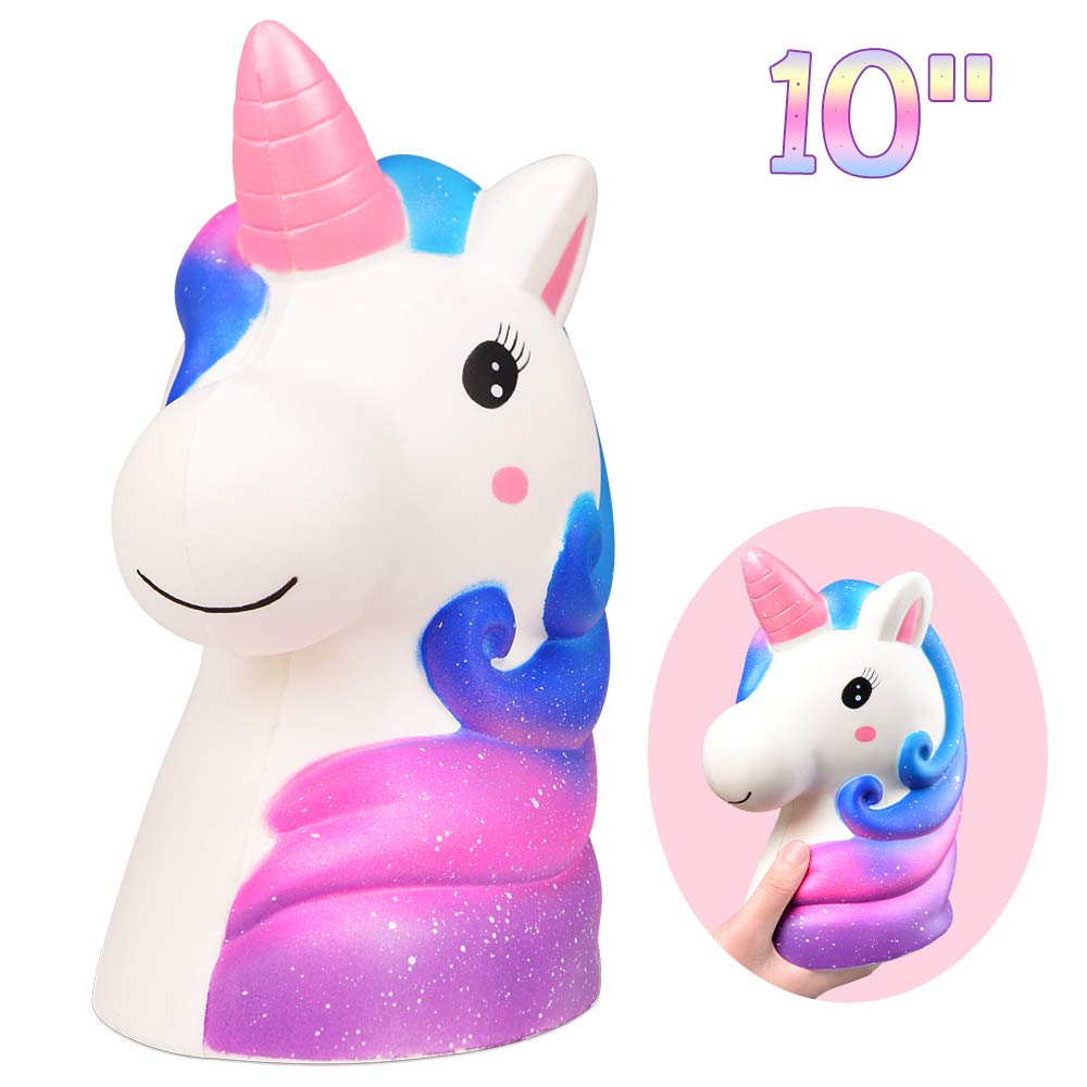 LUDILO 10'' Jumbo Squishies Slow Rising Giant Squishy Large Unicorn Squishys Toys Jumbo Rainbow Unicorn Scented Squeeze Toys Kawaii Stress Relief Toys Novelty Toy Birthday Gifts for Kids Adults, Galaxy