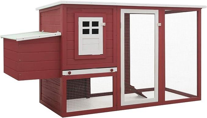 pedkit Gallinero Exterior Madera Integrado Run Limpieza Bandeja Casa para Gallinas Jaula para Animales Pequeños Pollo | Gallinero con 1 Jaula para Huevos Madera Rojo