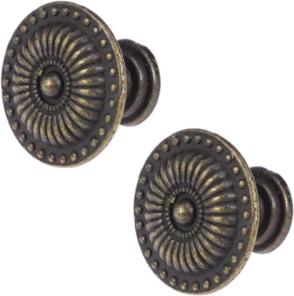 BESPORTBLE 4 Piezas Manijas Vintage Estilo Europeo Cl/ásico Lat/ón Antiguo Tiradores Simples Perilla de Un Solo Orificio para Armario con Cajones